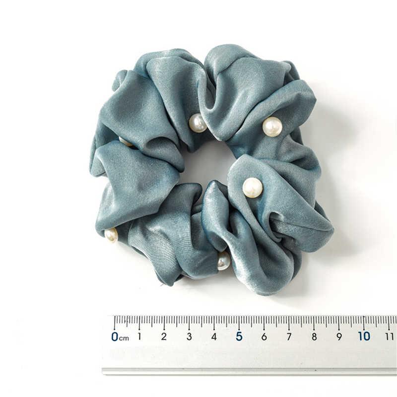2019 新しい女性パールサテン髪 Scrunchies 伸縮性ポニーテールホルダーリボンエラスティックヘアバンド絹のようなヘアネクタイアクセサリーポニーテール女の子のため