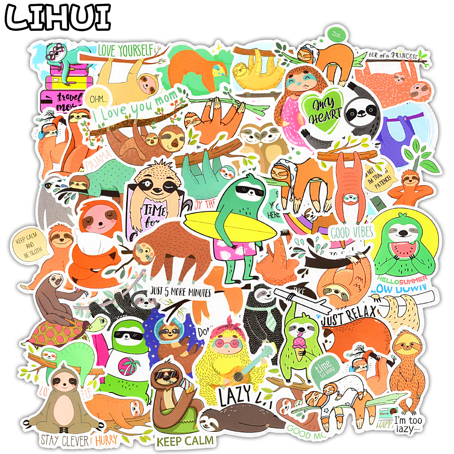 50 PCS Cartoon Sloths Stickers For Car Bicycle Laptop Guitar Fridge Skateboard Luggage Waterproof Cute Sticker Decals Kids Toys