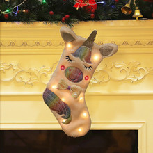 LED Christmas Socks Gift Bags Decoration Supplies Candy Large Cartoon Toys