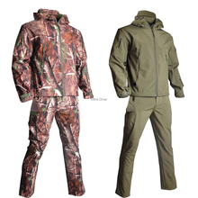 Men's Outdoor Waterproof Soft Shell Hooded Military Tactical Jacket Hunting Camouflage Clothing Mens Sniper Suits