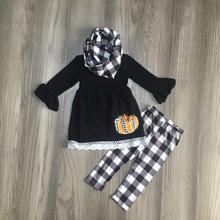 סתיו תלבושות בנות 3 חתיכות עם צעיף סטי בנות חמניות הדפסת תלבושות שחור שמלה למעלה עם משובץ מכנסיים