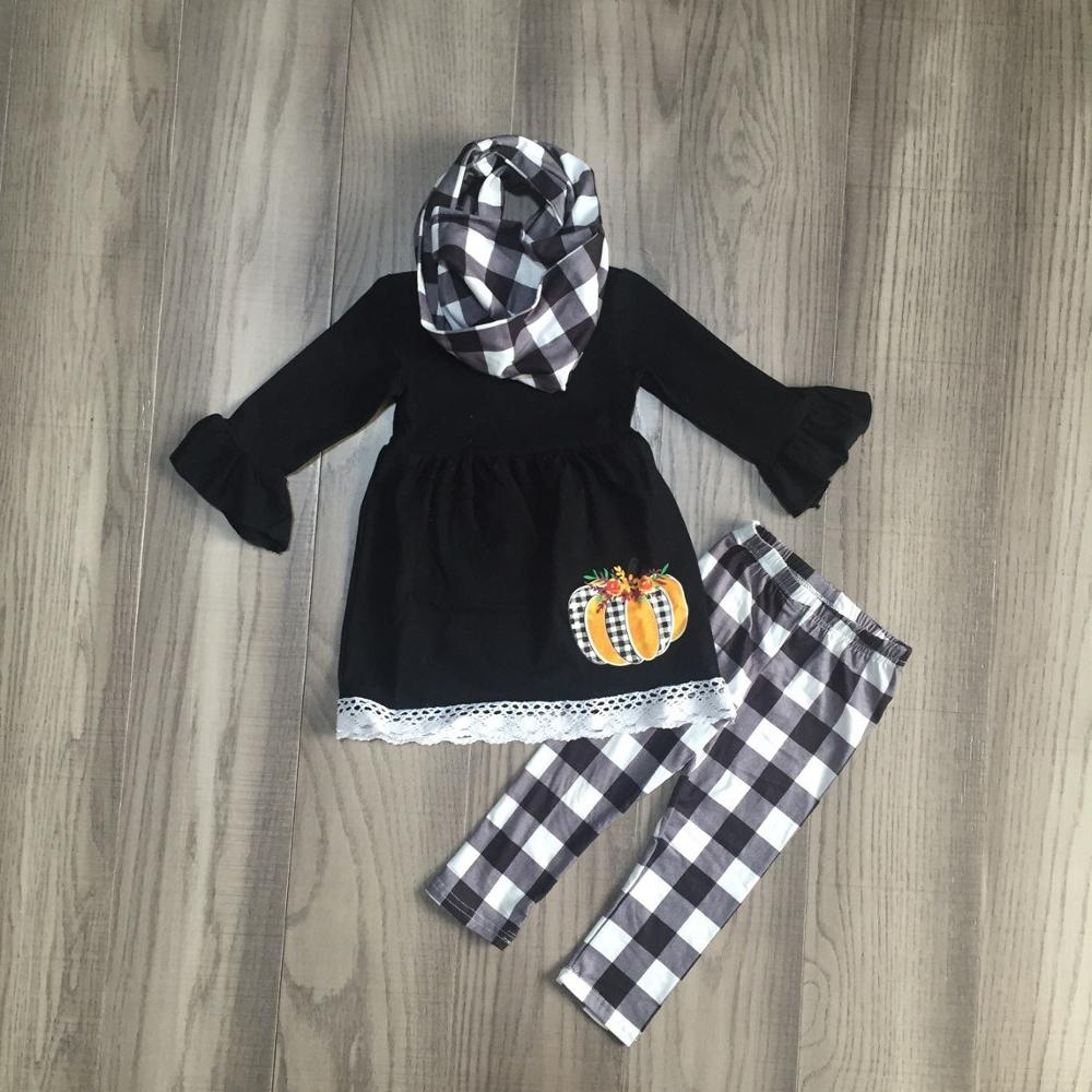 FALL OUTFITS girls 3 pieces with scarf sets girls sunflower print outfits black dress top with plaid pants-in Clothing Sets from Mother & Kids