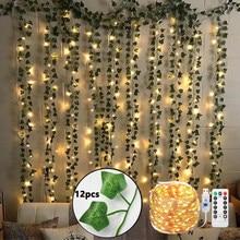 12 шт Искусственные растения с узором в виде плюща гирлянды с USB 10 м светодиодный Сказочный светильник с имитацией листьев винограда подвесн...