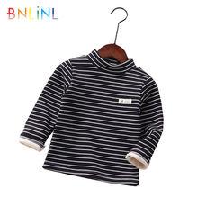 Детский пуловер в полоску с высоким воротником