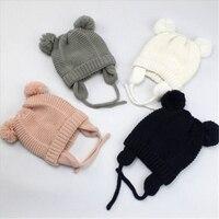 2020 kleinkind Kind Baby Mädchen Jungen Gestrickte Mützen Nette Pelz Ball Bär Ohren Herbst Winter Weiche Baumwolle Beanie Solid Warme hüte