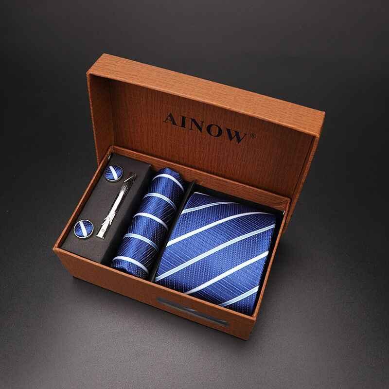 עניבה סט 4 pcs גברים פרחוני צוואר עניבת עניבה משובצת מתנת חתונה אדום פסים 8cm כחול כהה אקארד ארוג שחור מוצק הסוואה
