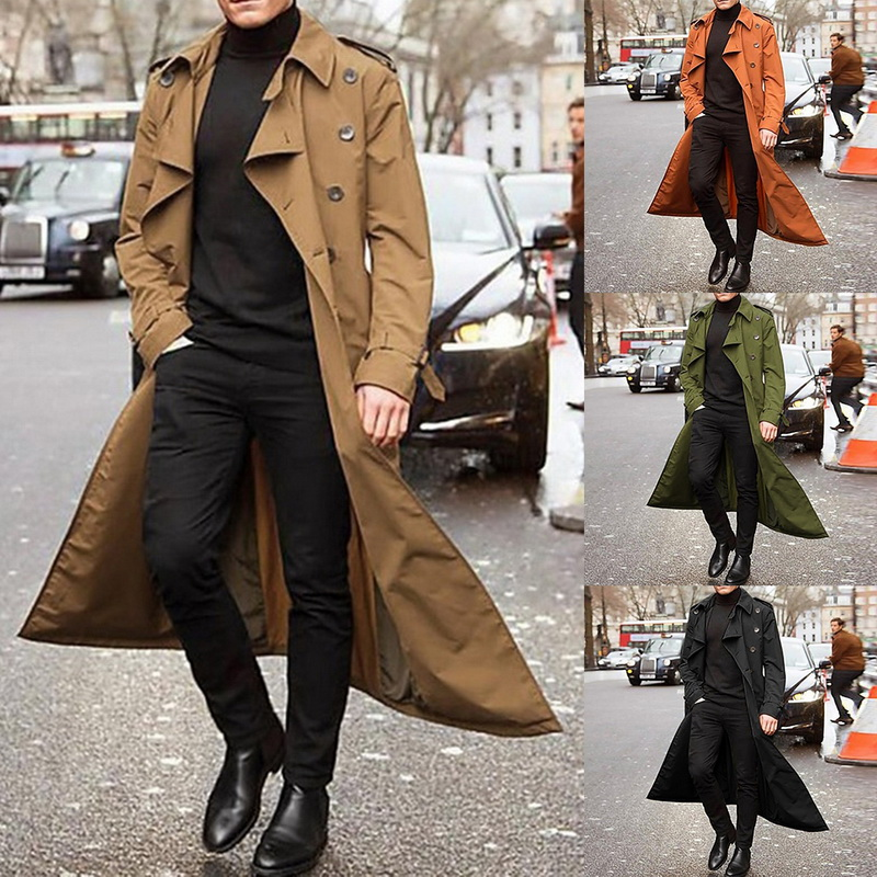Long Coats Windbreaker Spring Trench Double-Breasted Male Fashion New Thin Solid Lapel title=