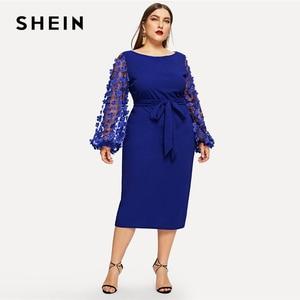 Image 5 - SHEIN Plus Size 3D Appliques Mesh Sleeve Belted Pencil Dres 2019 Women Romantic Elegant Bishop Sleeve High Waist Dresses