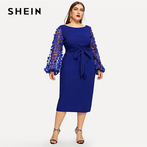 Image 5 - SHEIN grande taille 3D Appliques maille manches ceinturée crayon Dres 2019 femmes romantique élégant évêque manches taille haute robes