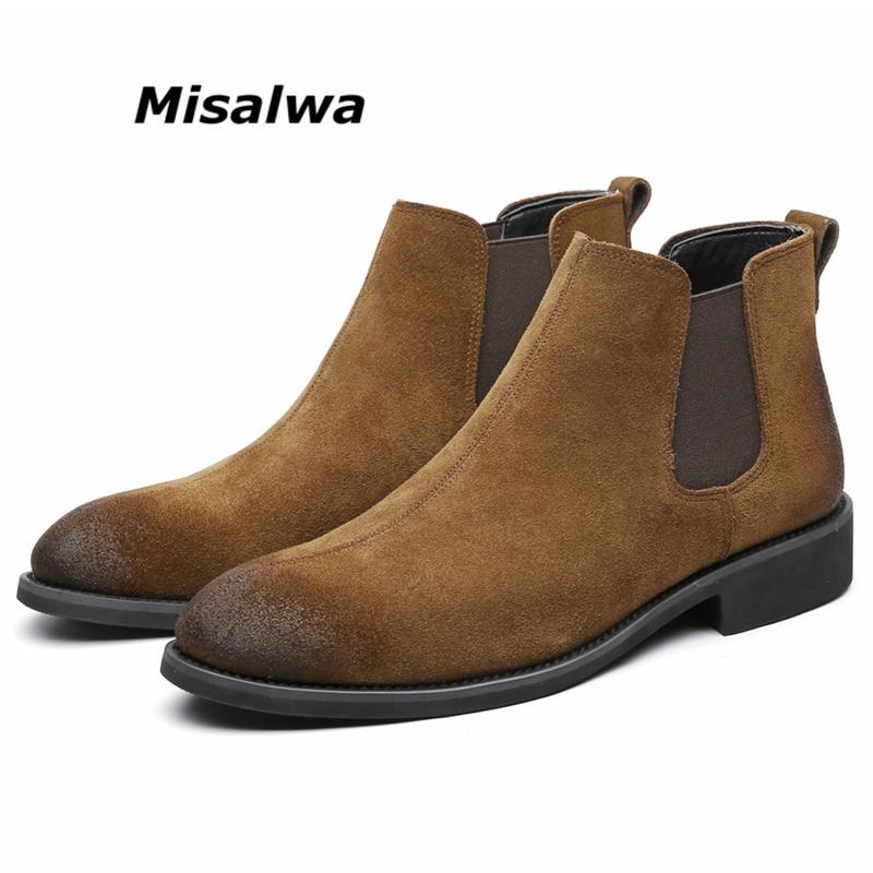 Misalwa Cow Suede Chelsea Men's Boots Slip-on Elegant Men British Boots Dress Shoes Men Boots