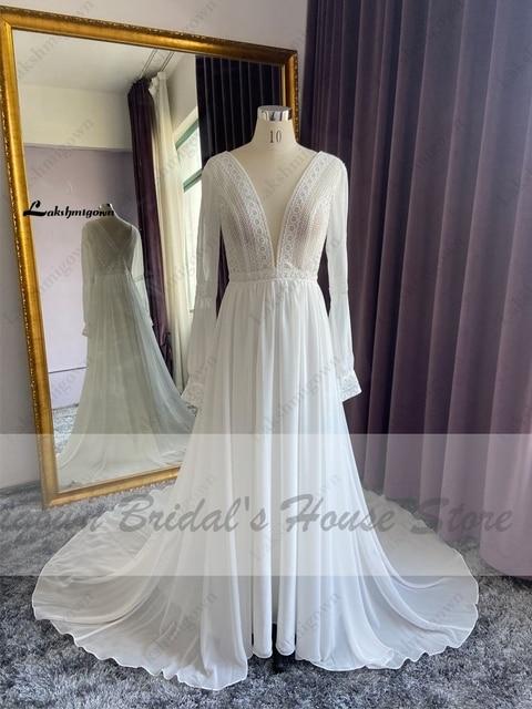 Vestidos Boho Bridal Long Sleeve Wedding Dresses A Line 2021 Robe Longue Simple Beach Chiffon Long Wedding Gowns Deep V-neck 3