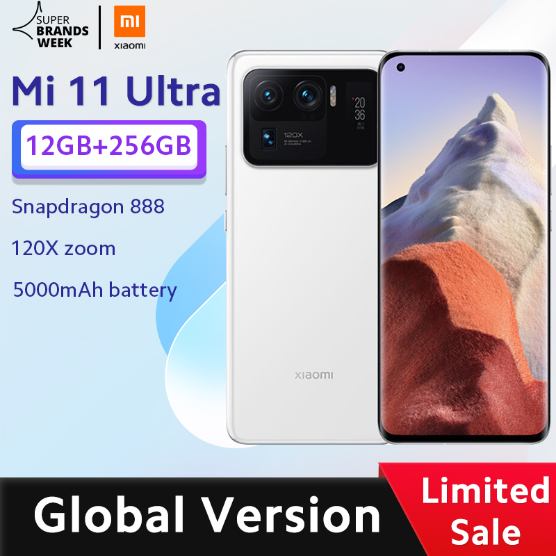 Глобальная версия Xiaomi Mi 11 ультра смартфон 12 Гб ОЗУ 256 ГБ ROM Snapdragon 888 Octa Core 50MP 120X зум камеры 5000 мАч батарея