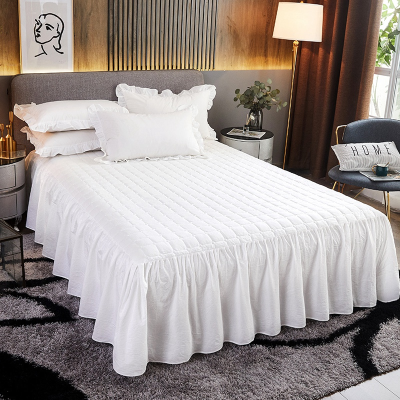 White Thicken Quilted Princess Bedding Bed Skirt Pillowcases With Cotton Winter Warm Bedspread Mattress Cover 1/3pcs Bed Sheet