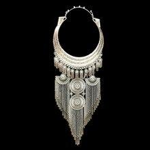 Ulusal tarzı abartılı büyük yaka kadın kolye kadın kolye Miao gümüş takı kolye toptan pusheen bijuteria