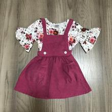 Spring/Summer outfit plum floral flower milk silk cotton top skirt baby gilrs kids wear boutique clothes knee length
