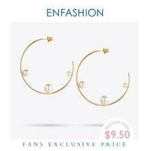Enfashion Trang Sức Hình Học Dòng Ngọc Đôi Khuyên Tai Vòng Vàng Màu Sắc Inox Bông Tai Vòng Tròn Cho Nữ Earings EEF1014