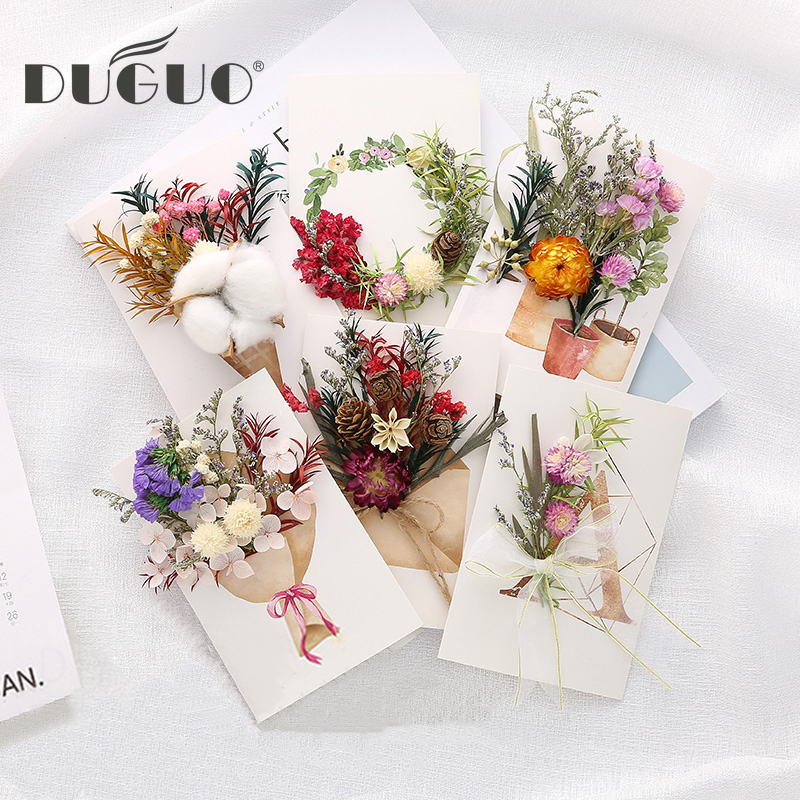 DUGUO Cute Stationery Dry Flower Stereo Greeting Card Diy Material Package Romantic Small Card Creative Literary Envelope