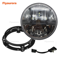 """Flyaurora 7"""" 36w LED Headlight with black bracket for  Electra Glide 7 Inch Round LED Motorcycle Headlight"""