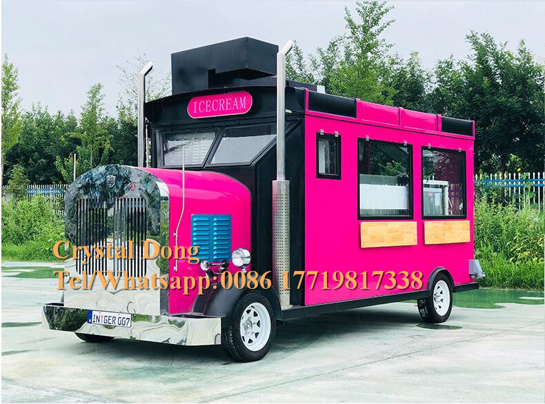 Electric Outdoor Fast Food Truck Ice Cream Vending Trailer Kiosk Cart In US