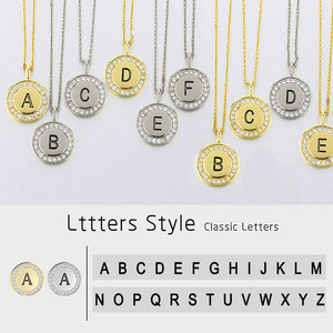 ZHOUYANG A-Z 26 Initial Pendant Name Necklace For Women Men Zircon Gold Color Alphabet Charm Choker Chain Jewelry KBN083