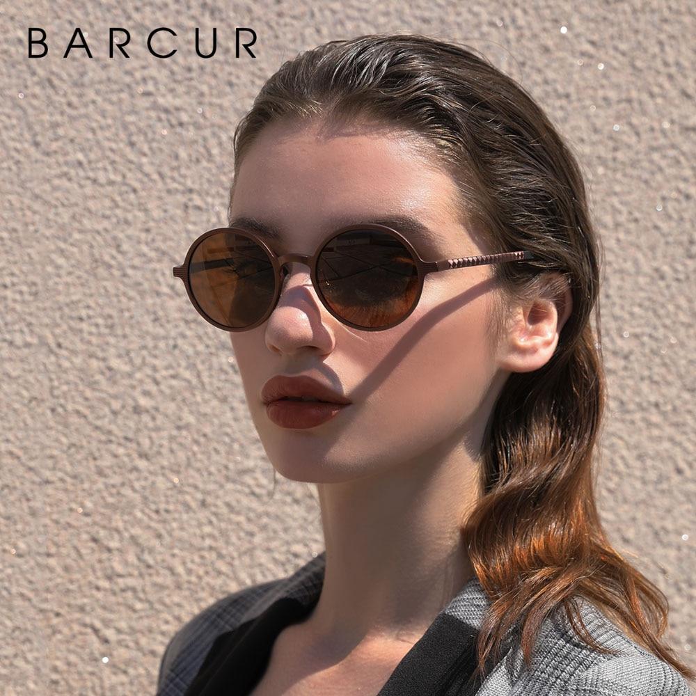 BARCUR Hot Black Goggle Male Round Sunglasses Luxury Brand Men Glasses Retro Vintage Women Sun glasses UV400 Retro Style 4