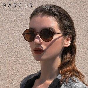 Image 4 - BARCUR Hot Black Goggle Male Round Sunglasses Luxury Brand Men Glasses Retro Vintage Women Sun Glasses UV400 Eyewear