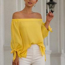 купить Off Shoulder Yellow Blouse Women Streetwear Lantern Sleeve Ladies Shirt Long Sleeve Loose Blouses Autumn Fashion Blusas Mujer по цене 752.92 рублей