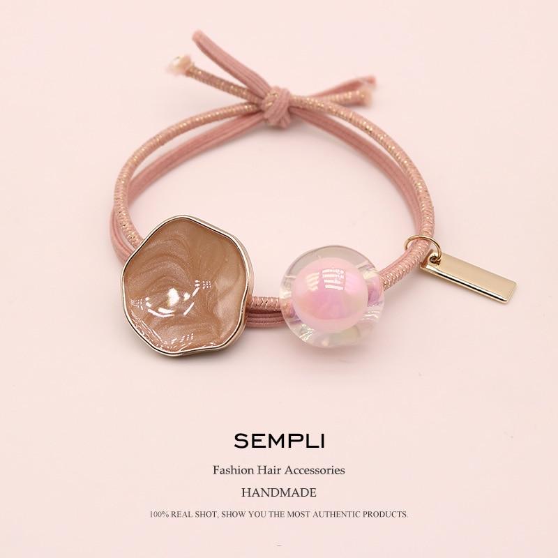 Sempli High Quality Metallic Line Elastic Rubber Bands For Women's Girls Kid Korean Round Beads Elastic Hair Bands Hair Headwear