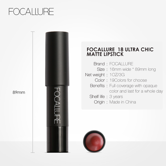 FOCALLURE 19 Colors Matte Lipsticks Waterproof Matte Lipstick Lip Sticks Cosmetic Easy to Wear Matte Batom Makeup Lipstick 5
