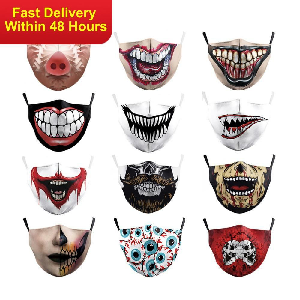 Zawaland Adult Unisex Fashion Funny 3D Printed Face Mask Adjustable Washable Mouth-Muffle Anti- Dust Mouth Masks With Filter