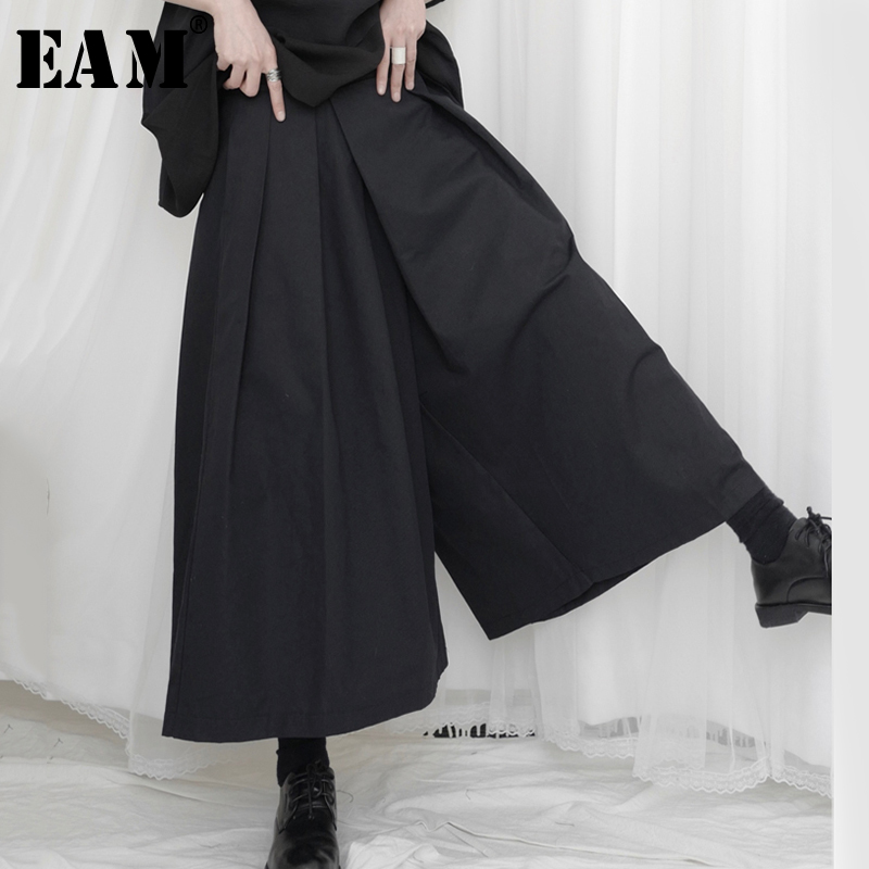 [EAM] High Waist Black Leisure Long  Brief Wide Leg Trousers New Loose Fit Pants Women Fashion Tide Spring Summer 2020 1U335