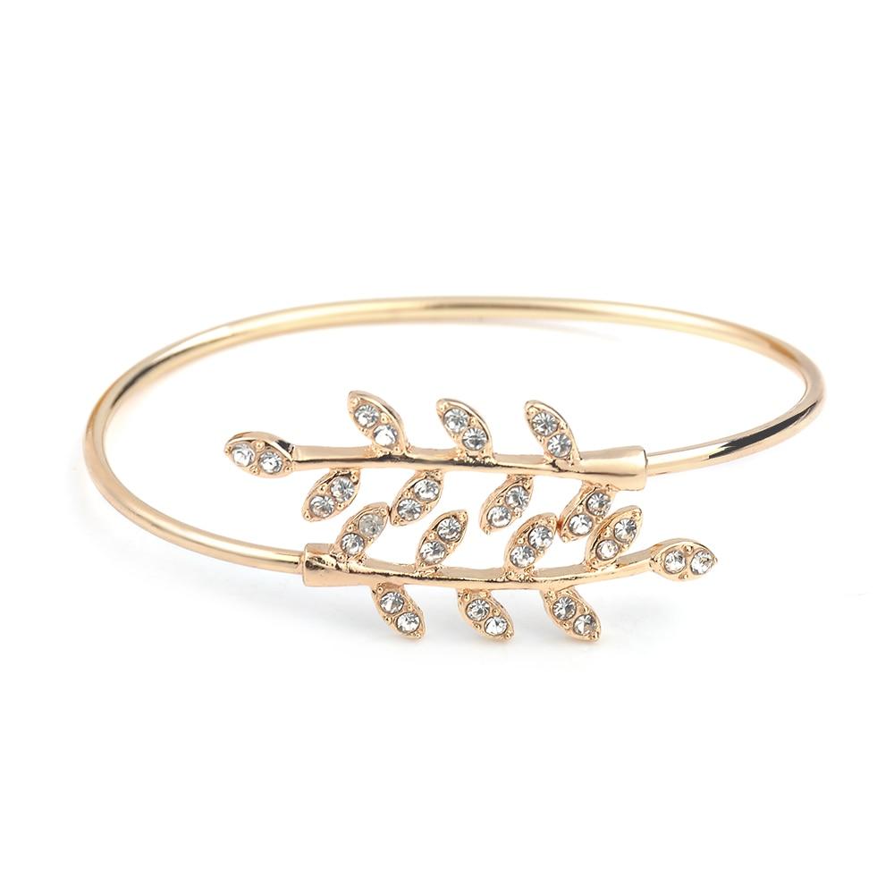 Fashion Jewelry Bracelet Party Rhinestone Leaf Bangles Adjustable Opening Bracelet Bangles for Women Girl Gift