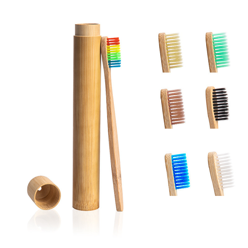 1pc Rainbow Toothbrush +1pc Bamboo Tube Eco Friendly Natural Bamboo Toothbrush Travel Case Soft Head Teeth Brush 2pc Packing