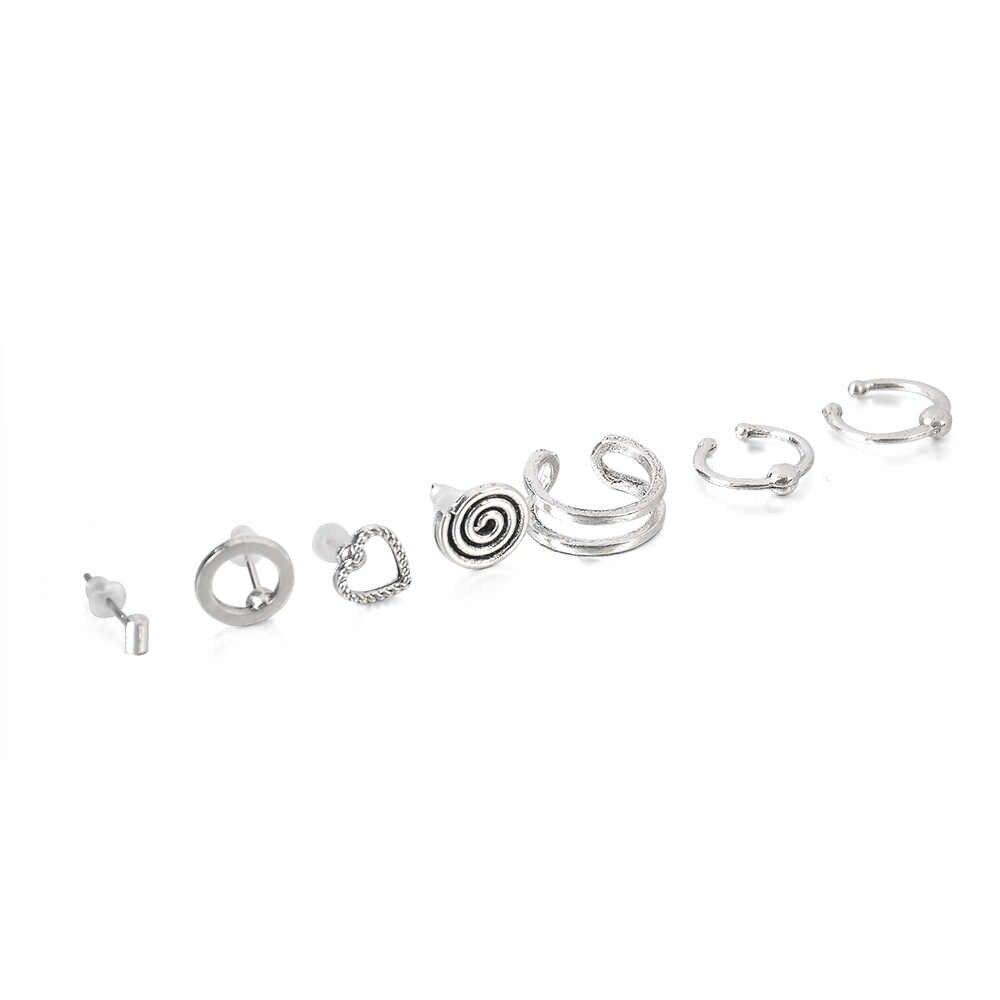 7ชิ้น/เซ็ตVintage Bohemian Mix Designรูปหัวใจวงกลมต่างหูผู้หญิงอินเทรนด์เจาะหูStuds Cuffต่างหูวงกลมชุด