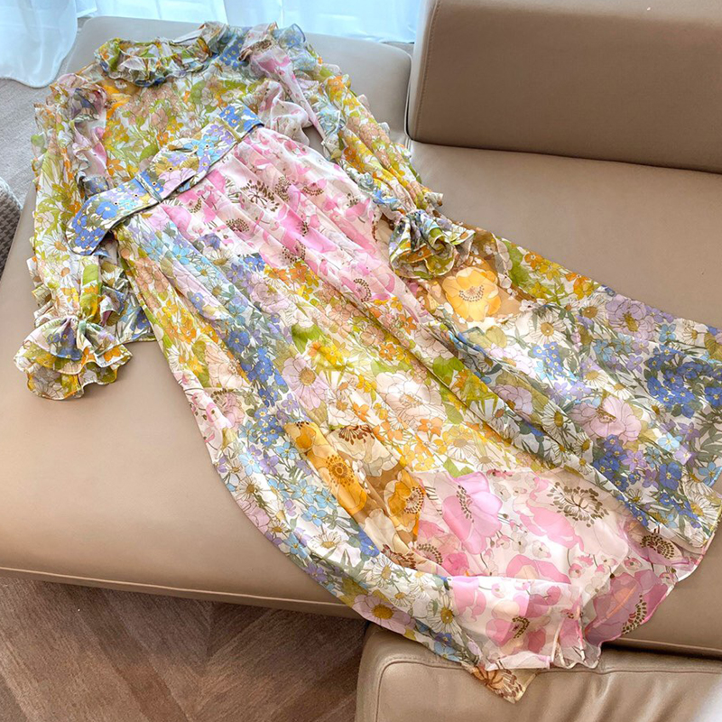 Women Spring Two Piece Set Women Skirt Top 2019 Floral Print Blouse And Long Print Skirt Suit High Quality