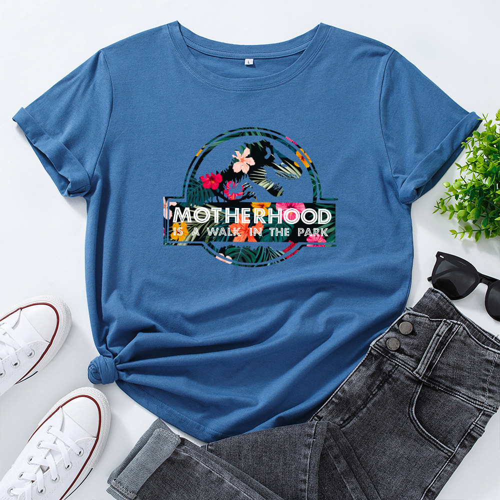 JFUNCY Casual Cotton T-shirt Women T Shirt Motherhood Letter Printed Oversized Woman Harajuku Graphic Tees Tops 14