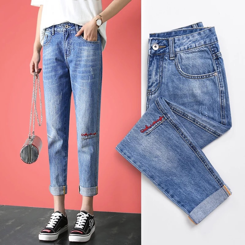 WOMEN'S Dress 2018 Spring And Autumn New Style Jeans Women's Capri Loose-Fit High-waisted Korean-style With Holes Straight-Cut S