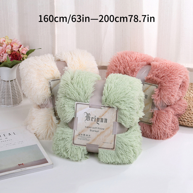 160x200CM Super Soft Shaggy Fur Double-layer Plush Blanket Fuzzy Cozy With Fluffy Sherpa Throw Blankets Bed Coral Blanket 4