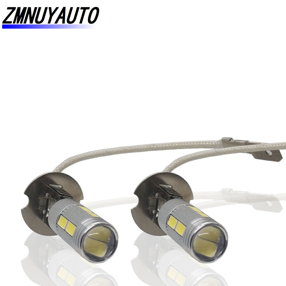 2pcs H3 COB LED Super Bright Long Life White Canbus 10SMD 5630/5730 Replacement Bulbs For Car Fog Lights Running Lights Lamps
