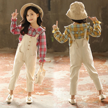 Casual Baby Girls Clothes Cotton Long Sleeve Plaid Shirts + Overalls Pants 2PC Toddler Kids Clothing Sets Loose Girls Outwears 2017 new girls sets baby two pieces sets children cotton and linen set kids plaid blouses overalls toddler jeans pants 2 7y