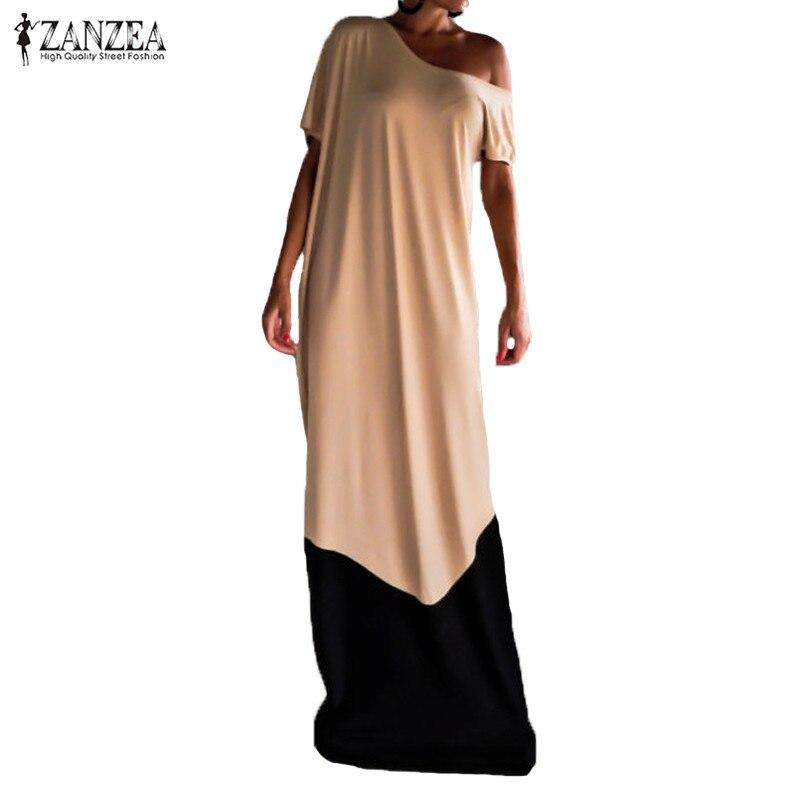 Plus Size ZANZEA Women Summer Dress Vintage Cold Shoulder Patchwork Maxi Long Shirt Dress Casual Loose Kaftan Vestidos Mujer 5XL
