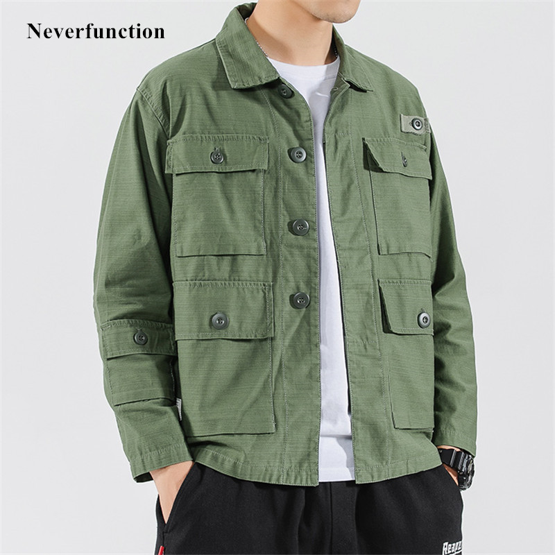 Men Streetwear Multi-pocket Solid Loose Cargo Jackets Autumn Fashion Hip Hop Harajuku Style Cotton Casual Jacket Coats