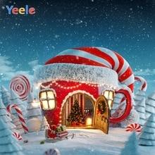 Yeele Christmas Backdrop Winter Snow Frozen Candy Bar Cake House Fireplace Wonderland Baby Background For Photo Studio