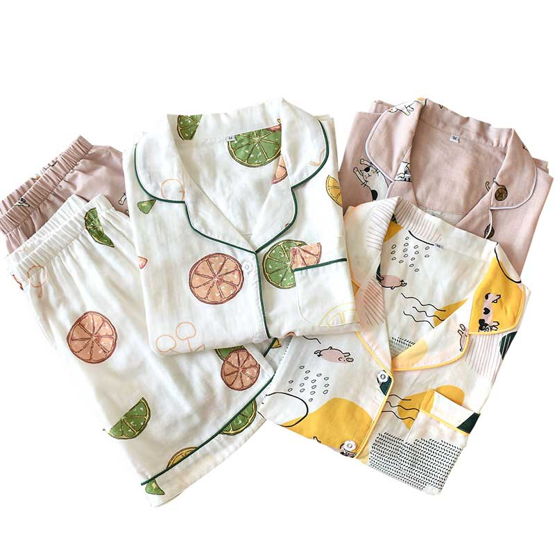 Cartoon Printed Ladies Gauze Cotton Homewear Short-sleeve Top+Shorts Japanese Style Summer Loose Casual Wear Women Pajamas Set