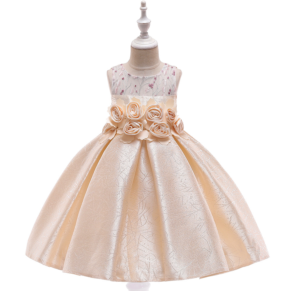 2019 New Style Europe And America Princess Dress CHILDREN'S Dress Satin Jacquard Flower Hollow Out Puffy Dresses Of Bride Fellow