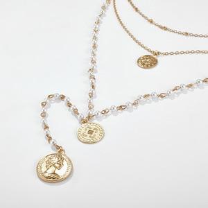 Image 5 - Модное многослойное ожерелье с имитацией жемчуга, креативное круглое ожерелье с длинными денежными средствами, подарок на вечеринку