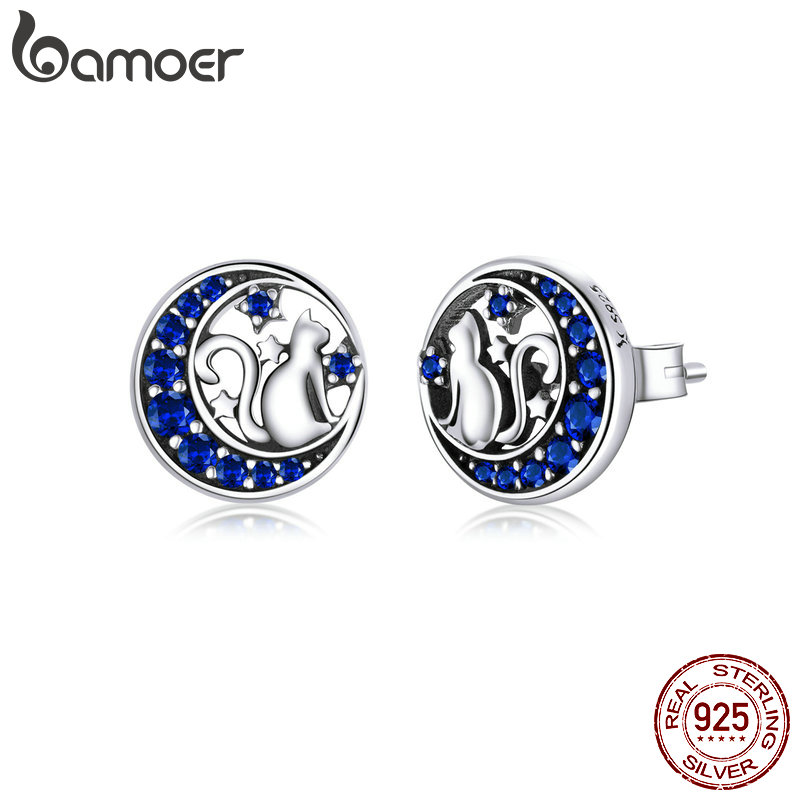 Bamoer Genuine 925 Sterling Silver Cat On The Moon Round Stud Earrings For Women Ear Pins Fine Jewelry 2020 New SCE880