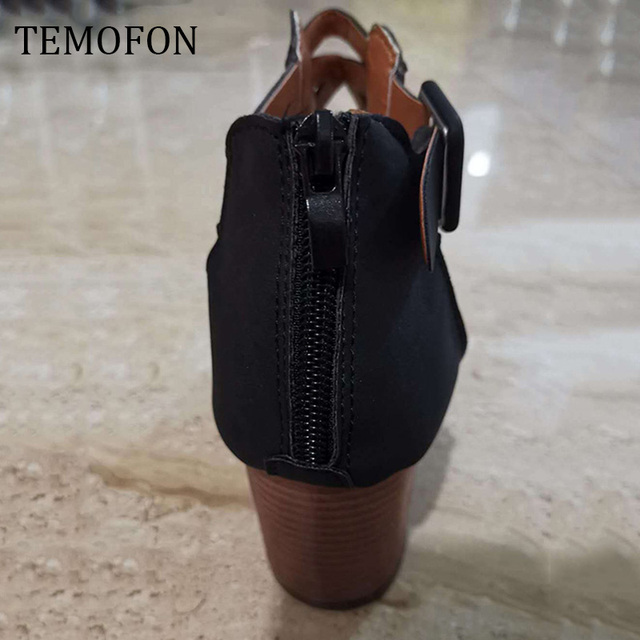TEMOFON 2020 women square heel Sandals peep toe hollow out chunky gladiator sandals with strap black spring summer shoes HVT791