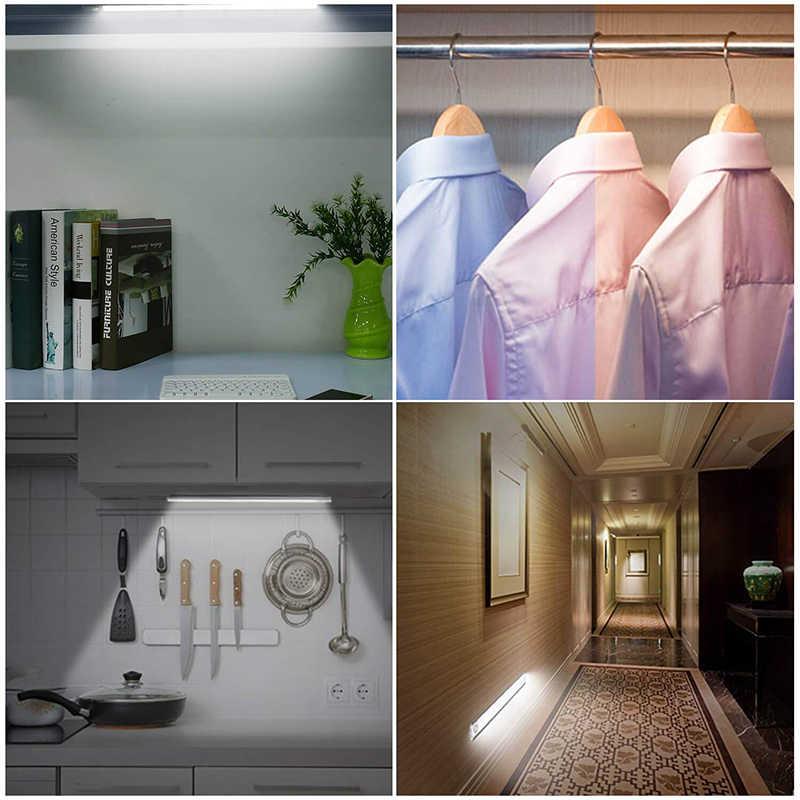 23/40/60CM PIR Motion חיישן LED תחת קבינט אור USB נטענת מלתחת ארון לילה אור עבור מטבח מקורה קיר מנורות