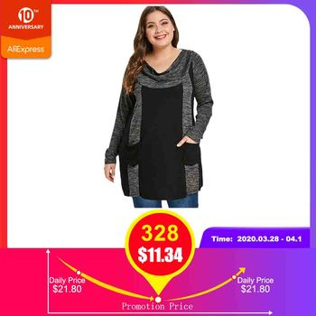 ROSEGAL Plus Größe Kontrast T-Shirt Frauen Casual Gugel Neck Langarm Doppel Tasche T-shirt Weibliche Kleidung Big Größe Damen tops